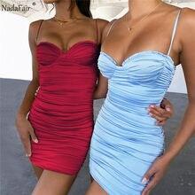 Nadafair/летнее женское платье, вечерние клубные платья, 2021, на бретельках, с открытой спиной, мини, с рюшами, облегающее, сексуальное платье для ...