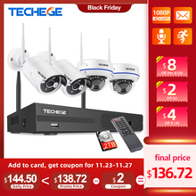 Techege 8CH 1080P Wireless CCTV System WiFi NVR Kit 2MP Outdoor Waterproof Vandalproof Dome Camera IP Wifi Security System Kit