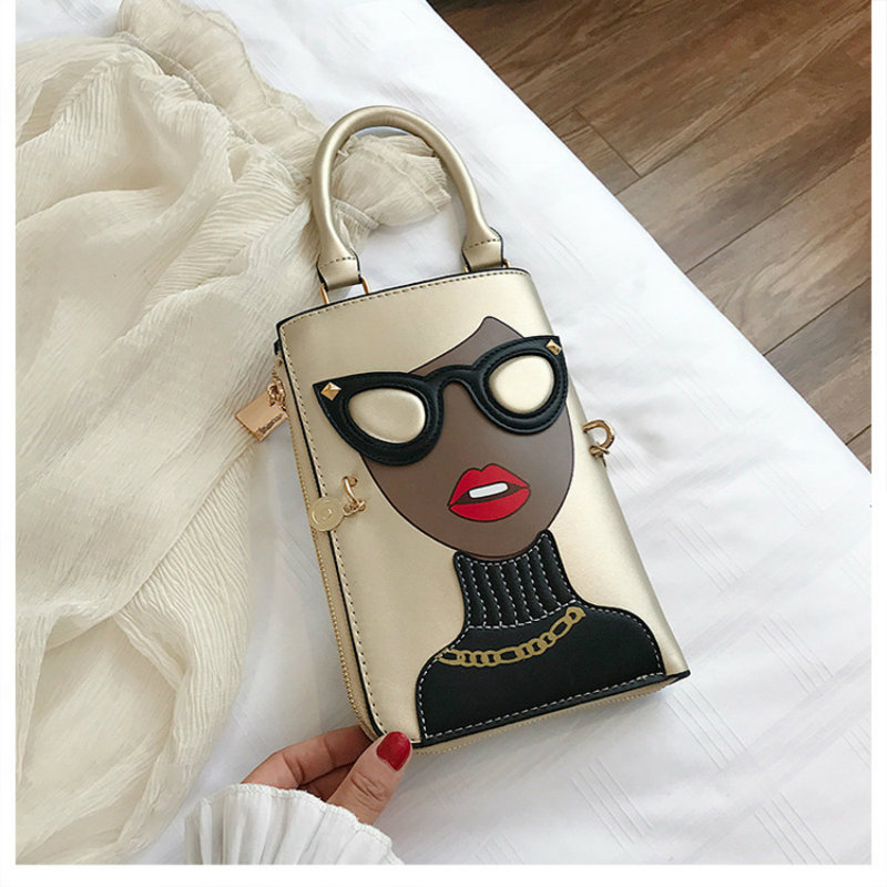 Fashion Leather Envelope Women Bag Designer Funny Cartoon Characters Clutch Small Shoulder Bags Lady Summer Purses and Handbags
