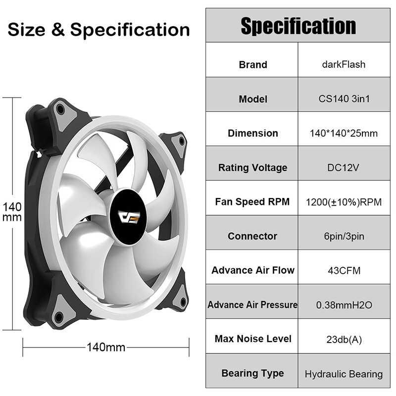 Darkflash CS140 pc冷却ファン 140 ミリメートルrgbファンオーラ同期 5v/3pinヘッダ制御可能な調整ledコンピュータケースcpuクーラー