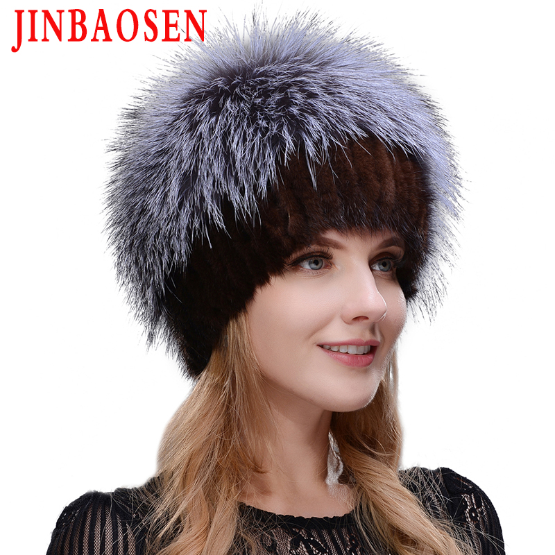 New women's winter Russian fur fashion real fur hat mink fur natural fox knitted wool ski hat warm ear protection travel hat
