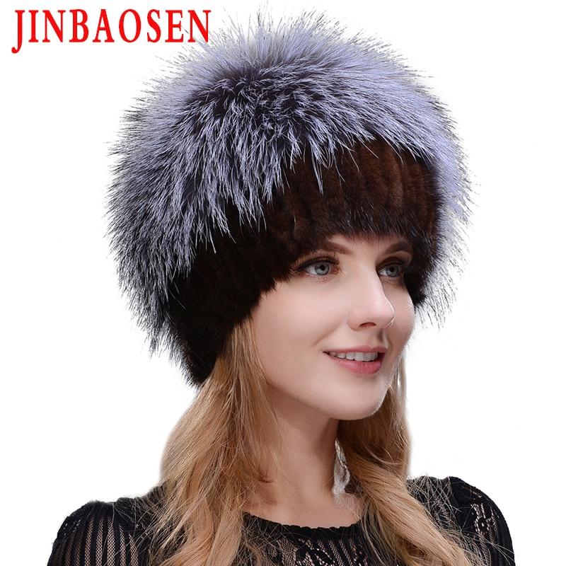 New Women's Winter Russian Fur Fashion Real Fur Hat Mink Fur Natural Fox Knitted Wool Ski Hat Warm Ear Protection Travel Hat
