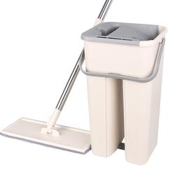 Magic Mop Platte Squeeze Mop Emmer Hand Gratis Wringen Mop Microfiber Thuis Keuken Houten Floor Cleaning Lazy Spin Mop Floor mop