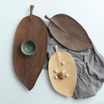 Japanese black walnut leaf plate set hand made wooden snack fruit leaf creative solid wood tray dinner plates
