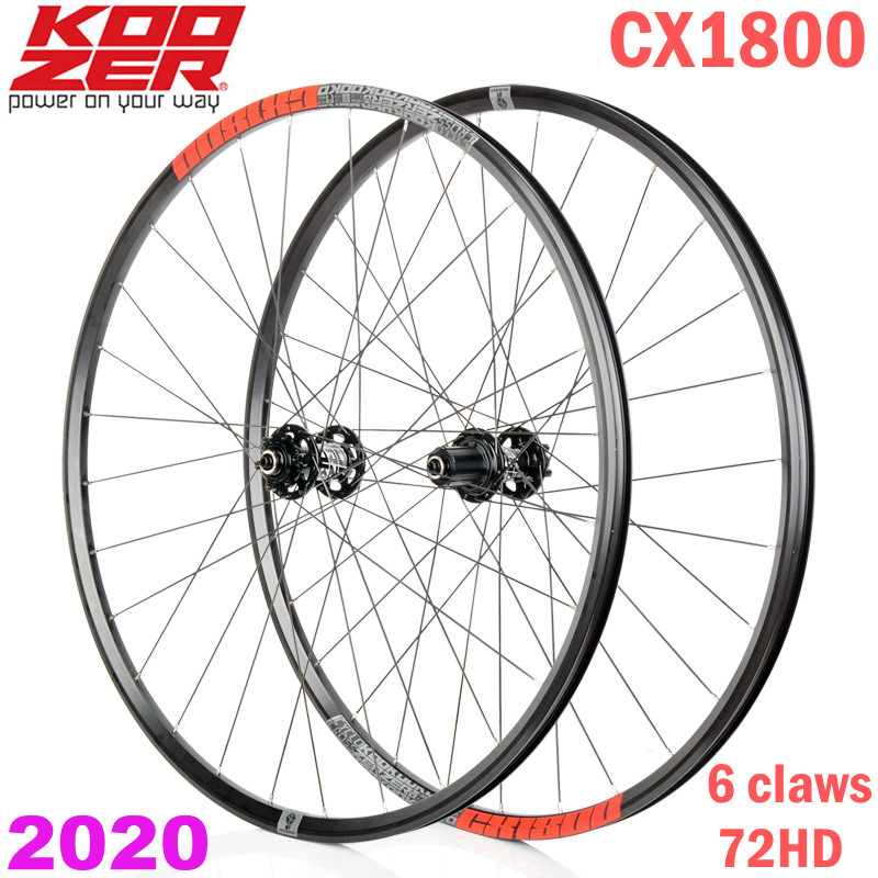 NEW KOOZER CX1800 Road Bike Disc Brake Wheelset 4 Bearing 72 Ring 700C Thru or QR Bicycle Wheels Rim 28H Road Bike Wheelset(China)