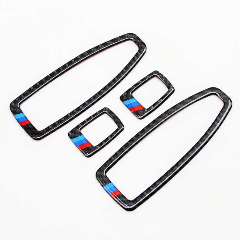 4pcs/Set Car Door Window Switch Panel Genuine Trims For BMW F20 F30 F34 F36 Carbon Fiber Car Decorative Sticker