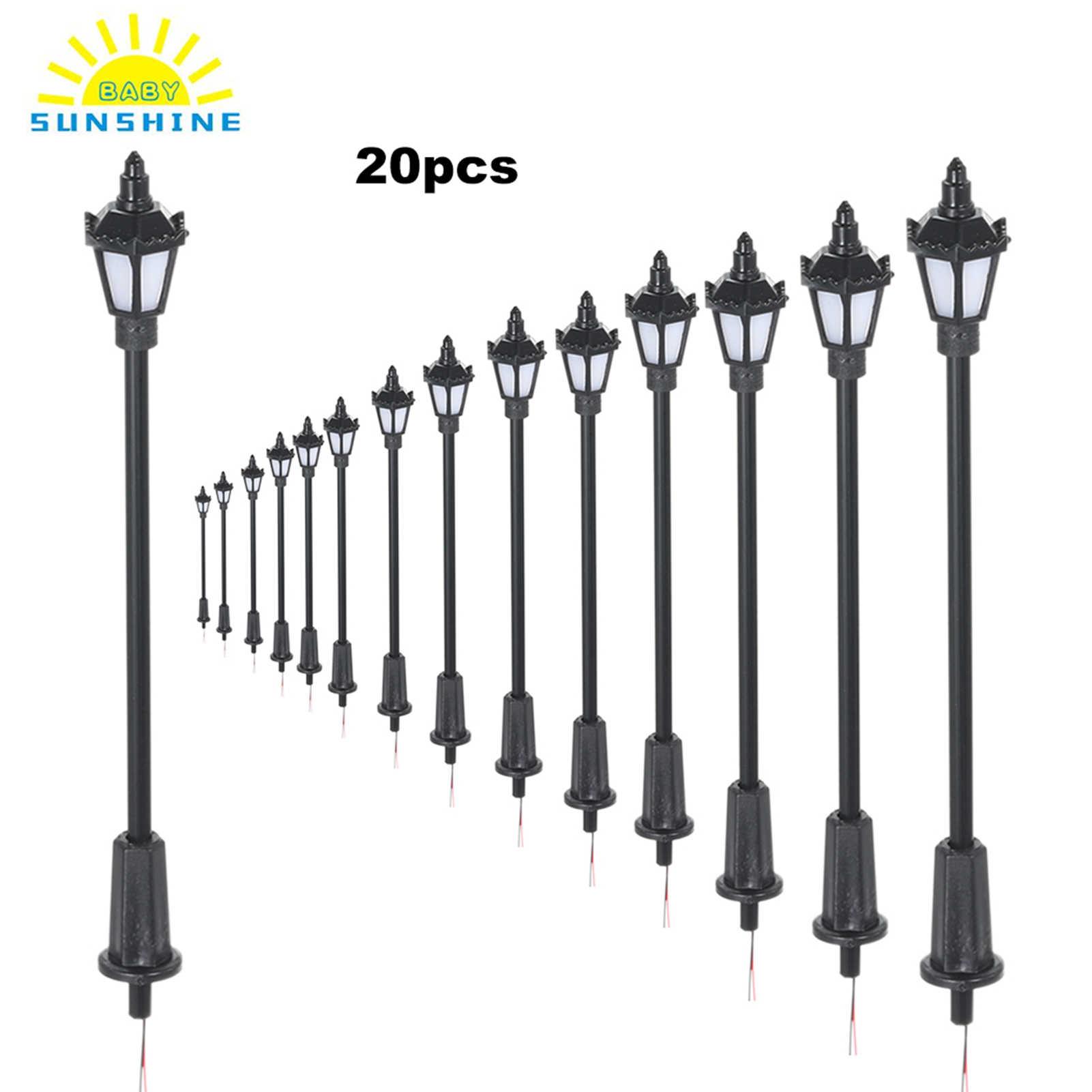 20 Pcs 1:150 HO Scale LED Street Lights Train Railway Park Lamp Posts Model