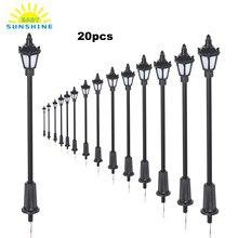 20 pçs branco/branco quente modelo luzes de rua layout lamppost trem ferroviário jardim playground paisagem conduziu a iluminação da lâmpada 100/70mm