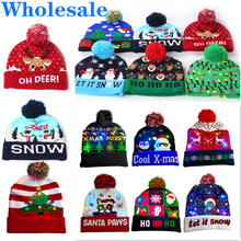 Wholesale New Children LED Christmas Hat With Lights Winter Warm Cartoon Knitted Pompom Beanie Cap For Kids Christmas Decoration