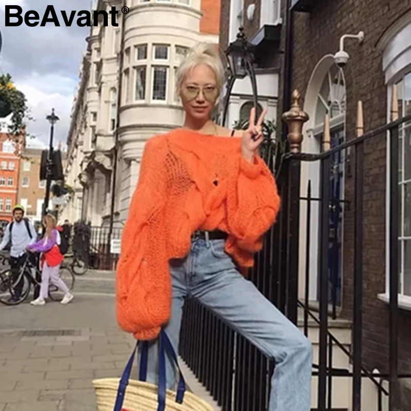 BeAvant Hollow Out Mohair Women Pullover Sweater Autumn Winter Lantern Sleeve Female Orange Sweater Oversize Ladies Jumper 2019