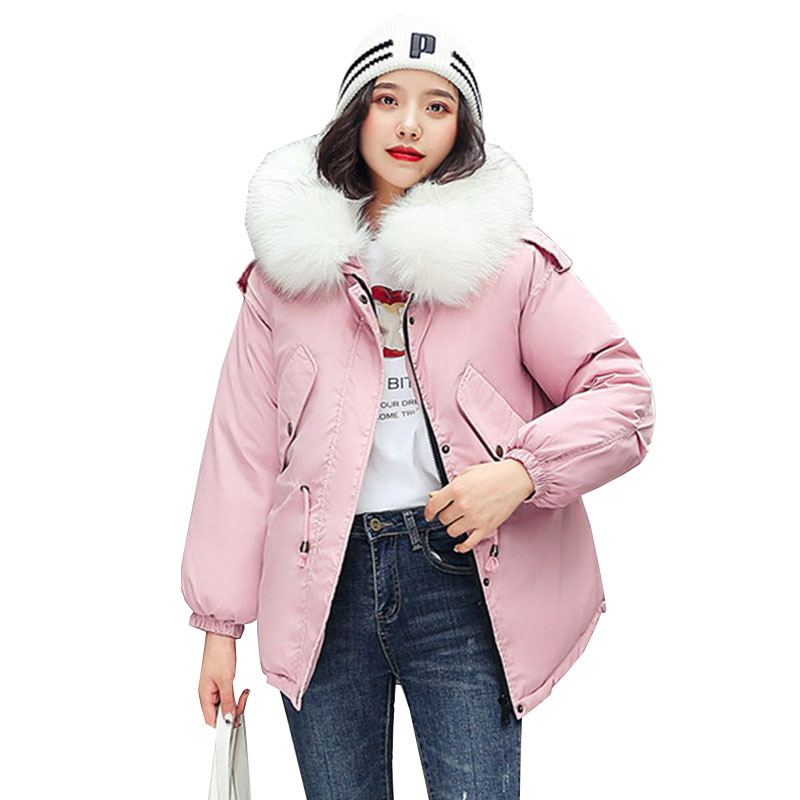 2019 New Winter Short Slim Women Hooded   parka   Big Fur collar zipper Down jacket Thick warm fashion Cotton clothing Female C137