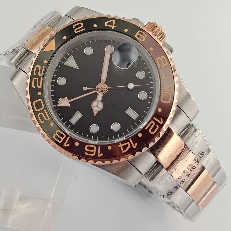 40 مللي متر Bliger/العقيمة الأسود الهاتفي روز الذهب الياقوت كوب سيراميك الحافة GMT اليد التلقائي ساعة رجالي-في الساعات الميكانيكية من ساعات اليد على  مجموعة 1