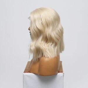 Image 3 - כריזמה קצר פאה עמיד בחום גלי שיער פאות סינטטי תחרה מול פאת צד חלק Glueless פאות עבור נשים משלוח חינם