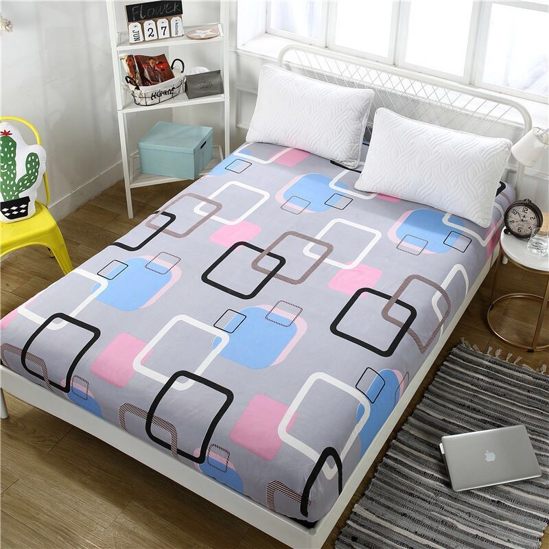 Sheet Bed Sheet With Pillowcase Blue Flower Printed Bed Linen Queen Size Mattress Covers Fitted Sheet Sets With Elastic  2019|Sheet| |  - title=