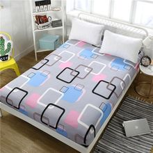 Sheet Bed With Pillowcase Blue Flower Printed Linen Queen Size Mattress Covers Fitted Sets Elastic  2019