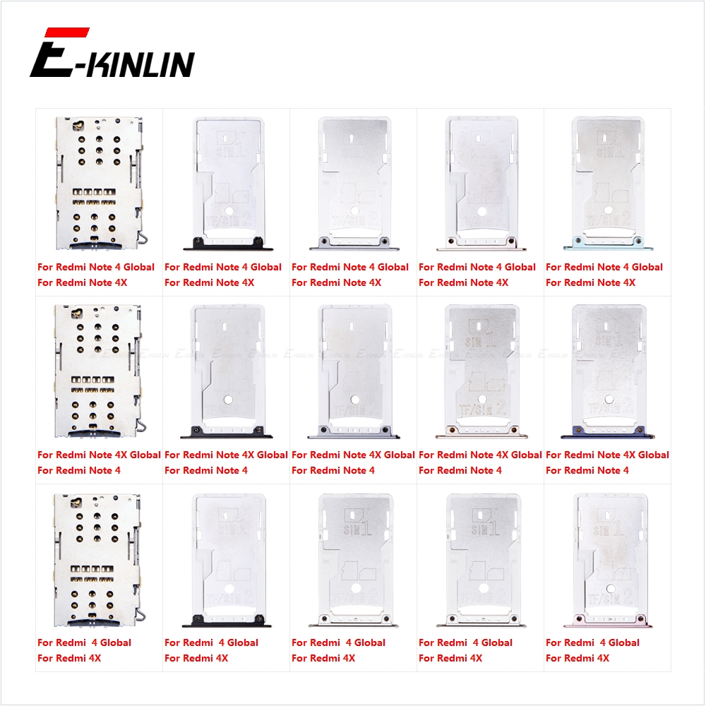 Sim Card Tray Socket Slot Reader Adapter For XiaoMi Redmi Note 4 4X Global Micro SD Card Holder Connector Container Parts