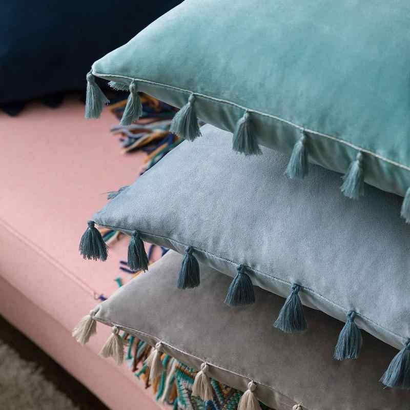 Modern Mewah Beludru Sarung Bantal dengan Rumbai Warna Solid Lembut Bantal Bantal Bantal Cover Melempar Sarung Bantal Sofa Bed Mobil Dekorasi Rumah