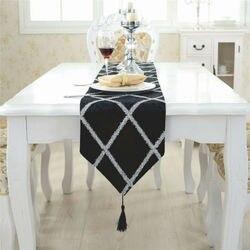 Moda de luxo diamante treliça veludo mesa corredor cama festa decorações casamento listra final da cama toalhas de pano