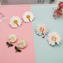2 шт милые женские броши с ромашками и цветами эмалированные