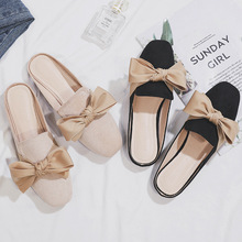 Chic Ladies Mules Summer Bow-knot Women Slippers Solid Slip-on Flat Ladies Office Shoes Summer Slippers Female