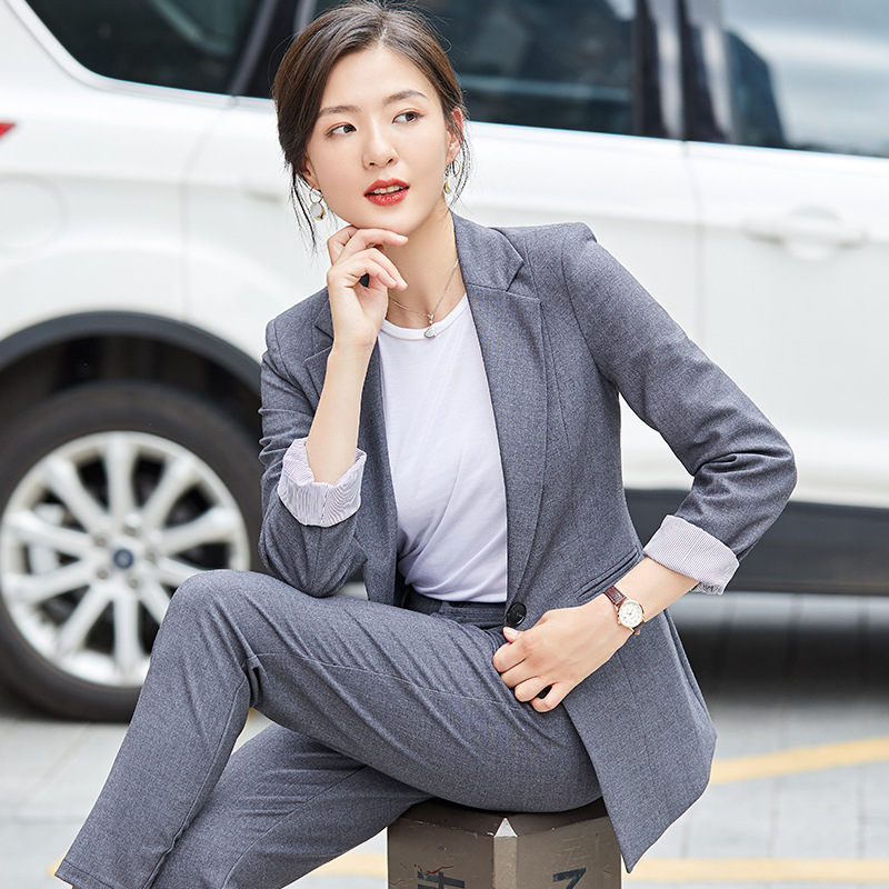 High Quality Temperament Women's Suit Two-piece New Elegant Single Buckle Autumn Suit Female Elegant Lady's Office Trouser Suit