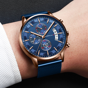 Image 5 - 2019 Mens Stylish Watches CRRJU Brand Blue Military Waterproof Sports Watch  Mens Casual Mesh Strap Quartz Clock reloj hombre