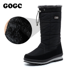 цены GOGC Women's Boots mid-calf boots women waterproof snow boots Winter Shoes Women's Winter High Boots ladies black Shoes G9637
