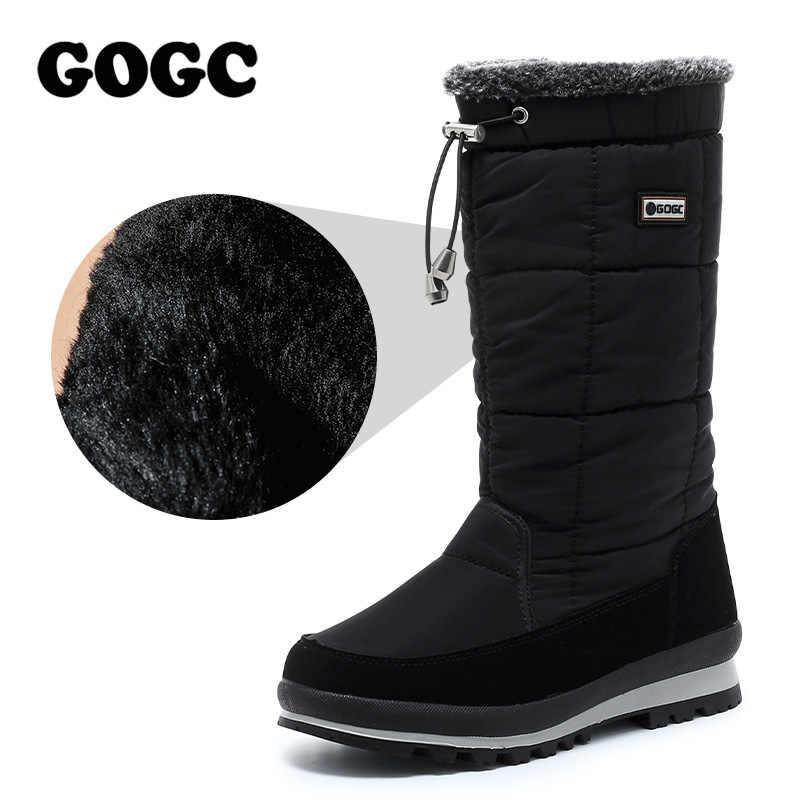 GOGC kadın çizmeler orta buzağı botları kadın su geçirmez kar botları kış ayakkabı kadın kış yüksek çizmeler bayanlar siyah ayakkabı G9637