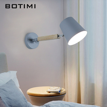 BOTIMI Modern LED Wall Lamp With Metal Lampshade For Bedroom Wooden Reading Wall Sconce Adjustable Bedside Lighting Fixtures