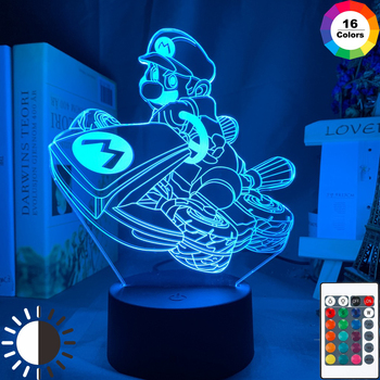Super Mario Car Racing Led Night Light for Gameroom Decor Kids Child Bedroom Nightlight Cool Ideas for Gift Shop Usb Table Lamp image