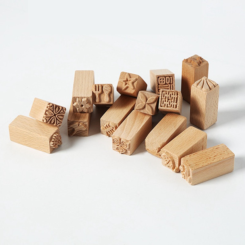 Hand Carved Wooden Stamps For Printing DIY Clay Pottery Printing Blocks Clay Tools Fish Bone / Squirrel / Flower / Deer ZXX9170