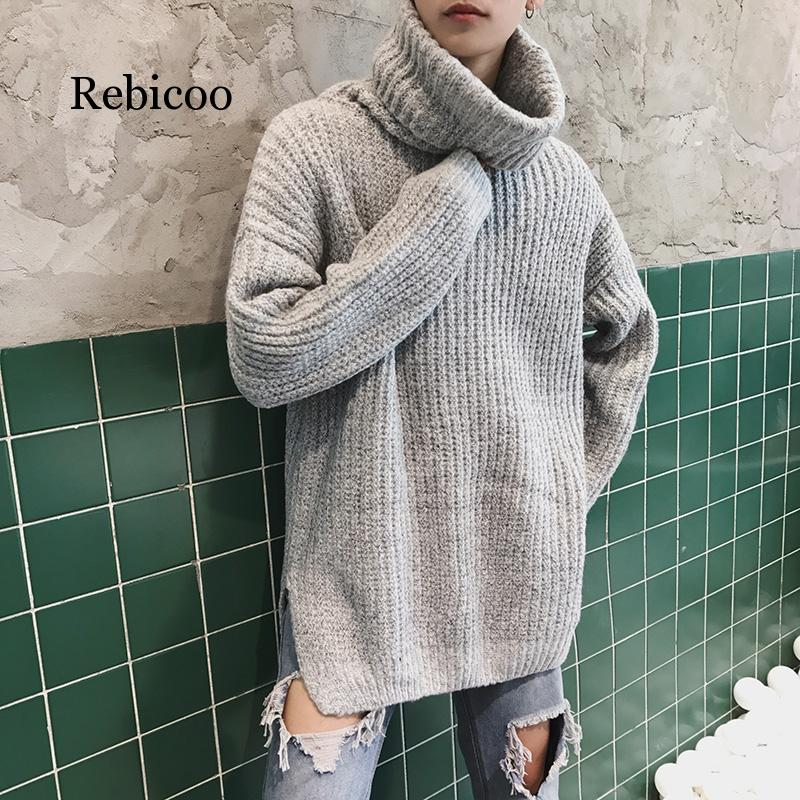 Hot Fashion High Neck Men's Thick Winter Sweater Hip Hop Men Turtleneck Sweater Casual Knit Pullover Men Loose Men Wool Sweaters