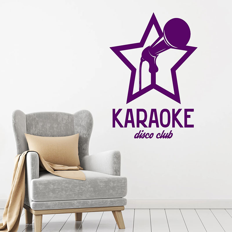 Karaoke Wall Decal Microphone Song Disco Night Club Logo Interior Decor Door Window Vinyl Stickers Creatives Star Wallpaper Q732 image