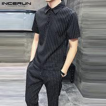 Été hommes ensembles rayé à manches courtes revers décontracté taille élastique pantalon Streetwear mode hommes costume 2 pièces S-5XL INCERUN