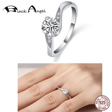 New 925 Sterling Silver Round Clear Zircon Rings For Women Engagement Fine Jewelry Wedding Gift helon sterling silver 925 flawless 8mm round 2 4ct natural white topaz engagement wedding ring for women trendy fine jewelry