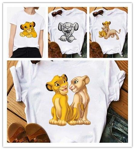 2020 New Summer Women T-shirt Cartoon Lion King Printed Tshirt Fashion Casual Harajuku Tshirt Female Cute Tee Woman O Neck Tops