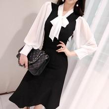 Bow Dress Spring Autumn women Bodycon Office Ladies Clothing Elegant W