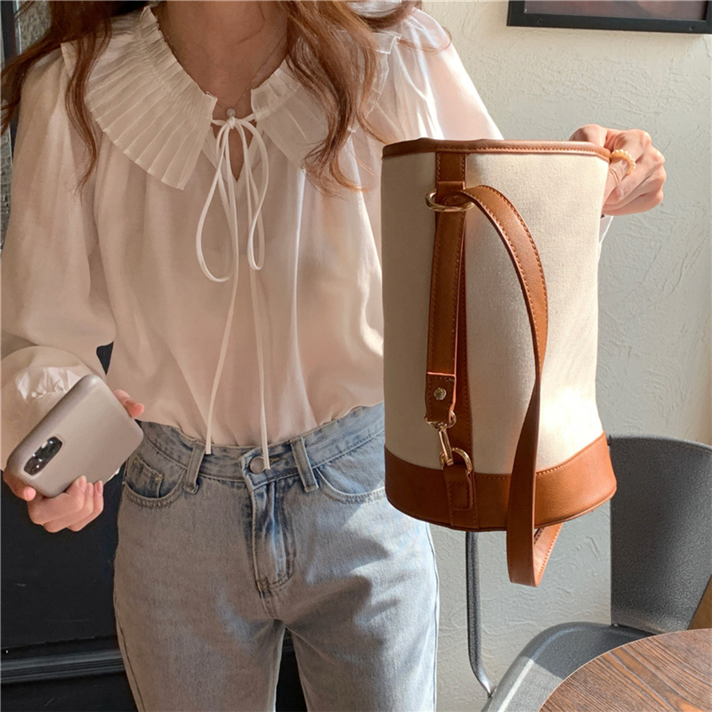 Hcb6061b63fab49f88bce1462ec53d4b1r - Spring / Autumn Lace-Up Collar Long Sleeves Loose Solid Blouse