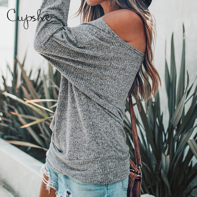 CUPSHE Gray Off-The-Shoulder Top Sexy Women Long Batwing Sleeve Shirt Tops Blouses 2019 Autumn Winter Girls Casual Pullover