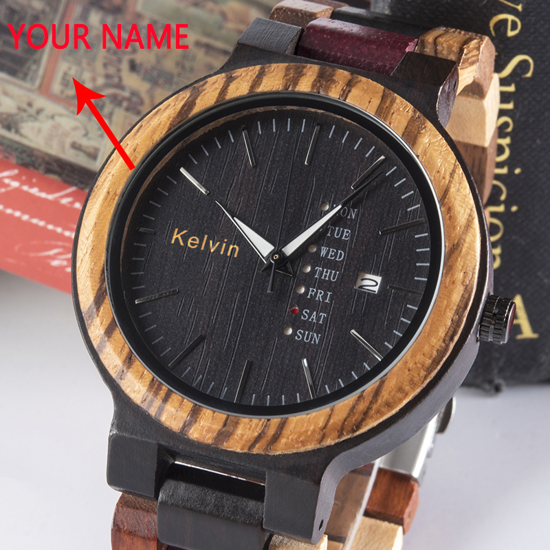 BOBO BIRD Wood Watch Men Customized Logo Show Date Quartz Male Colorful Wooden Band Boyfriend Gift In Wood Box Relogio Masculino