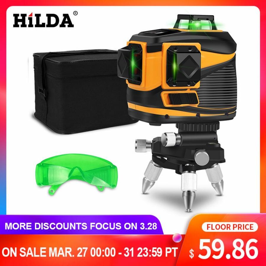 Aletler'ten Lazer Seviyeleri'de HILDA 12 satır lazer seviyesi 3D kendini tesviye 360 yatay ve dikey çapraz süper güçlü yeşil lazer işın hattı title=