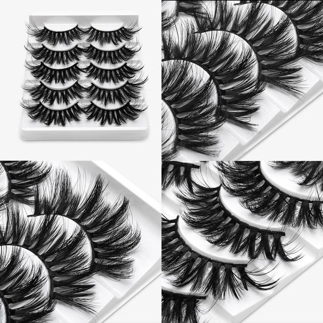 SEXYSHEEP 5Pairs 20-25mm 3D Faux Mink Hair False Eyelashes Natural/Thick Long Eye Lashes Wispy Makeup Beauty Extension Tools 5