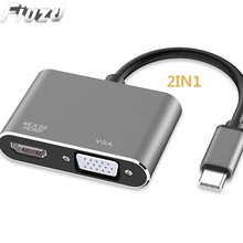 Fiuzd 2IN1USB C HDMI VGA Adapter Type to 4K Thunderbolt 3 for Samsung Galaxy S10/S9/S8 Huawei Mate 20/P30 Pro USB