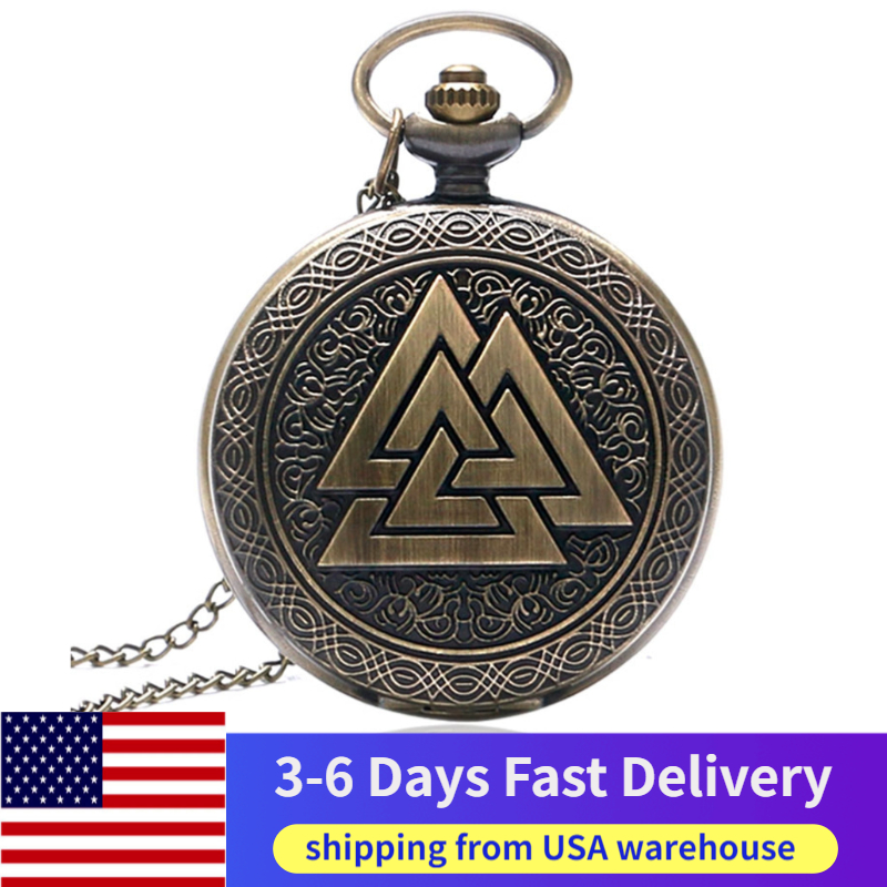 US Local 3-6 Days Delivery Valknut Three Interlocking Triangles Norse Mythology Antique Style Pocket Watch Full Hunter Fob Watch