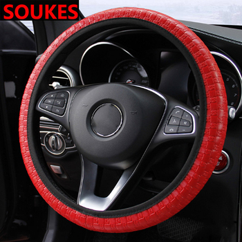 37-38CM Leather Breathable Car Steering-wheel Cover For Fiat 500 Abarth Mercedes W176 W204 W210 CLA E BMW E60 E36 E34 image