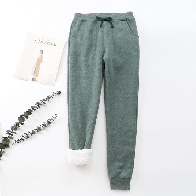 Winter Cashmere Harem Warm Pants Women 2020 Causal trousers Women Warm Thick Lambskin Cashmere Pants Women Loose Pant 5