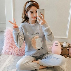 Image 2 - korean Flannel Warm Pajamas for Women Long Sleeve Home Suit Ladies sleepwear cartoon Velvet Pajama set Thick Feminino Pyjamas