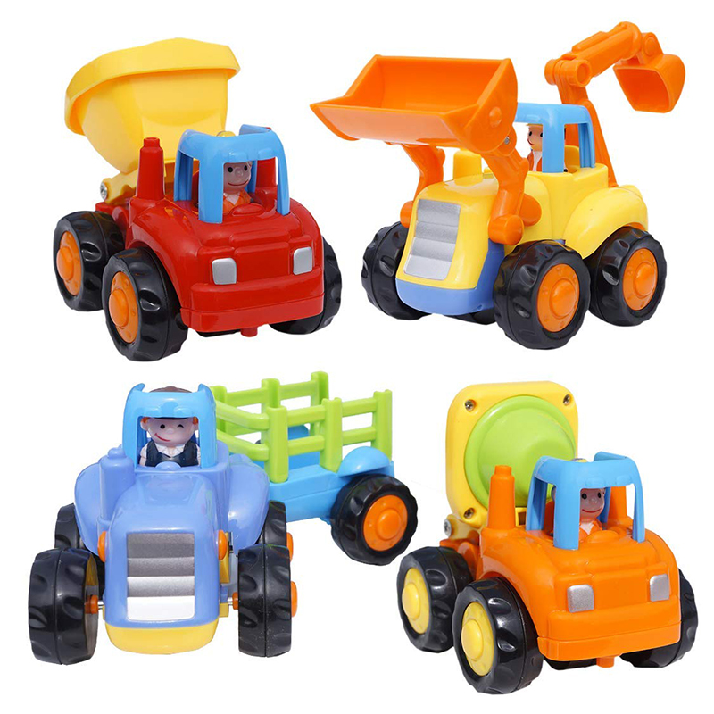 Car Toys | HOLA 326 Push And Go Friction Powered Car Toys For Baby Construction Vehicles Toy Set Tractor Mixer Truck Toys For Children Boys