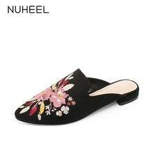 цена NUHEEL women's shoes new summer embroidery retro style slippers pointed low heel casual shoes women обувь женская онлайн в 2017 году