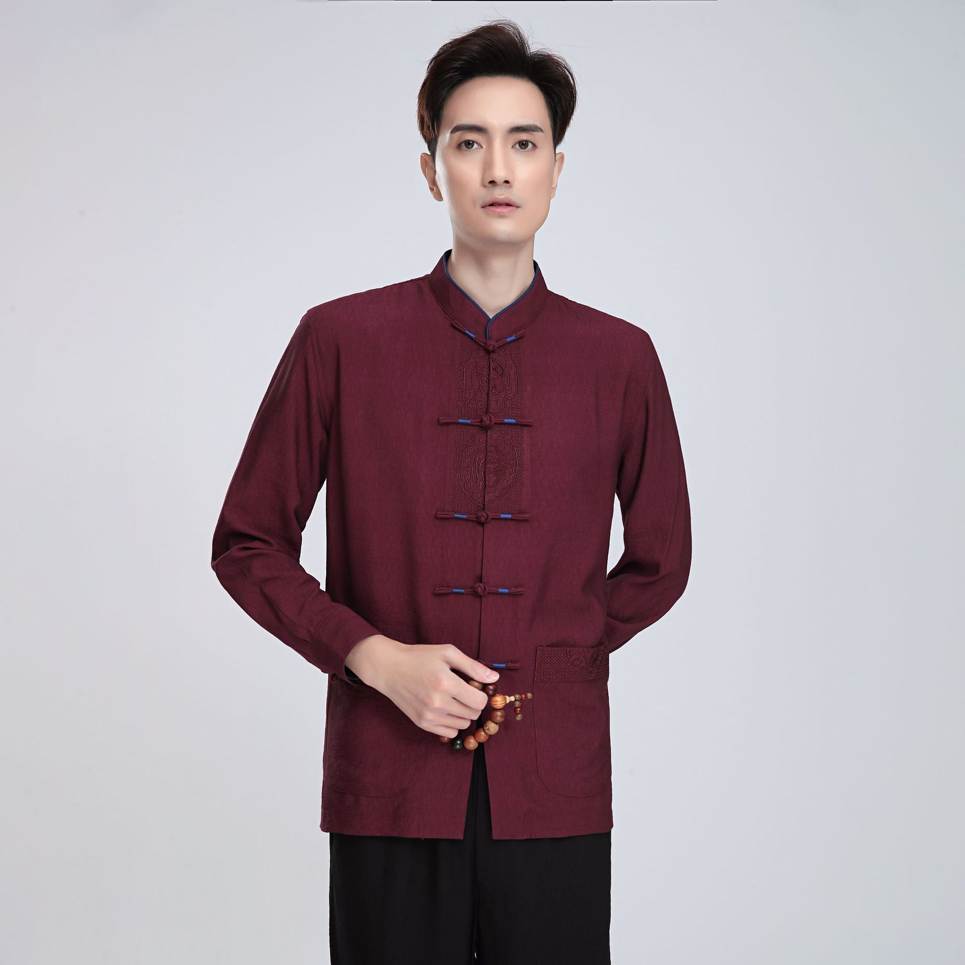 Chinese-style Chinese Style Flax 2814-2 Chinese Costume MEN'S Long Sleeve Top Middle-aged Long-sleeved Shirt/Set